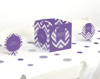 Chevron Purple - Centerpiece & Table Decoration Kit - Baby Shower and Birthday Party Decorations - 39 Piece Set