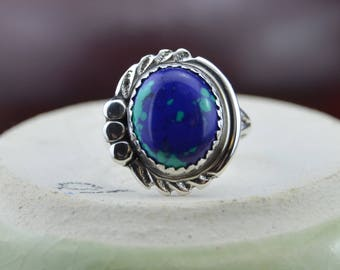 Navajo handmade sterling silver and azurite ring size 5