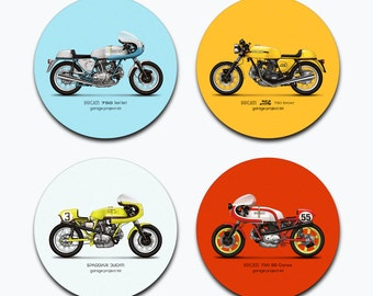 Classic Ducati Motorcycle Illustration Coasters - Set of 4