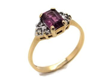 Gold Garnet  Zircon Ring, Womens Rings, Gold Rings Women, Garnet Rings, Gold Garnet Rings, Womens Garnet Ring Women, Mother's Day Gifts