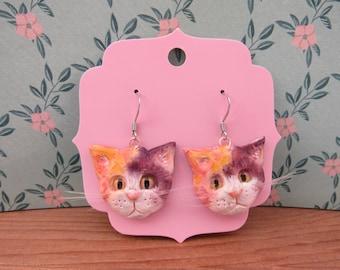 pink and orange kitty earrings