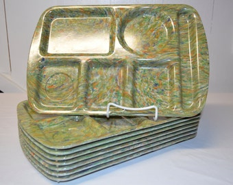 SET of 8 - Prolon Ware - Green Confetti Speckled Cafeteria Lunch Tray - EXCELLENT Condition - Hospital Tray - Bed Tray - Commissary Tray