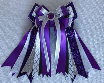 Horse Show Hair Bows/Silver White Purple Sparkle gem/Beautiful & Awesome