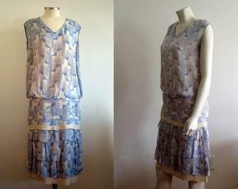 1920s Dress / 20s Blue Ivory Novely Print / SM