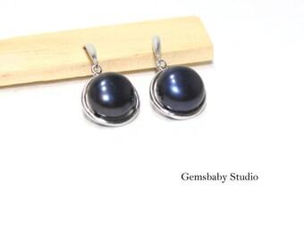 Mothers day Gift/Tahitian Black Pearl Earrings/Black pearl jewelry/Freshwater Pearl earring/Freshwater pearl jewelry/pearl earring/gift for
