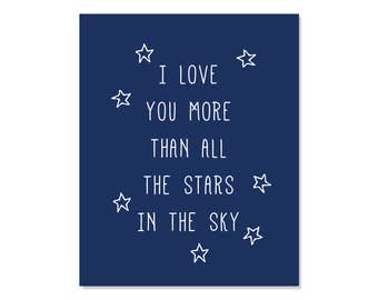 I Love You More Than All The Stars Printable Nursery Poster, Navy Wall Art Print Decor, 8x10 A4 Instant Download