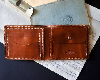 Men's Leather Billfold Wallet with Coin pocket