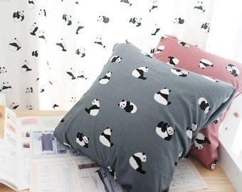 Cute Panda Pattern Cotton Fabric by Yard - 3 Colors Selection