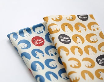 Laminated Polar Bear Pattern Cotton Fabric -2 Colors Selection