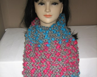 Scarf big neon wool Womens red and blue