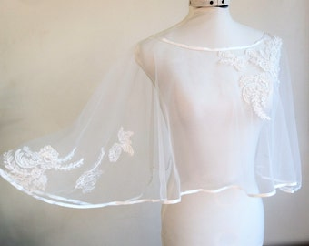 Transparent Cape for white lace wedding dress