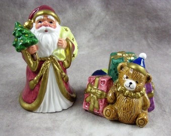 1993 OCI SANTA with Presents Christmas Salt & Pepper SHAKERS Fitz and Floyd Omnibus