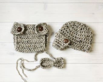 """Ready Ship ! Newborn / 0-3M Baby Boy Photo Prop Handmade Crochet Diaper Cover, Crochet Diaper Cover Hat and Bow Tie Set * Grey Marble """""""