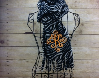Zebra Print Monogrammed Fleece Scarf with Fringe, Custom Personalized Embroidered Winter Fashion Scarf