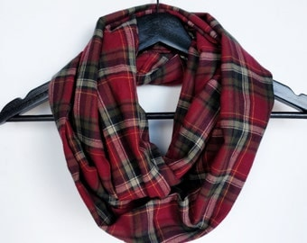Plaid Infinity Scarf, Burgundy Plaid Scarf, Made In Canada, Valentine's Day Gift, Circle Scarf, Gift For Girlfriend, Tartan Infinity Scarf