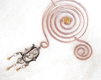 Shawl Pin Copper Hammered Personalized D Scarf Pin Fibula Spiral  Hammered Wire  Shawl Pin Hammered Copper Wire Pin Brooch Recycled Jewelry
