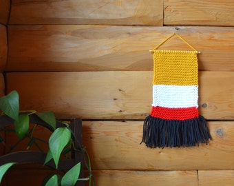 Knit Wall Hanging, Home Decor, Colorful Decor, Knitted Tapestry, Fiber Art, Color Block, Woven Textile, Geometric Decoration, Nursery Decor