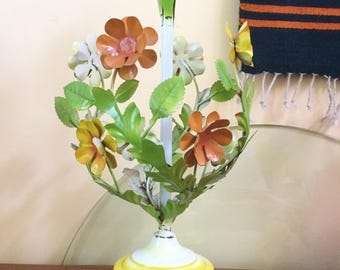 60's Lighting, Flowered Metal Lamp,  FREE SHIP