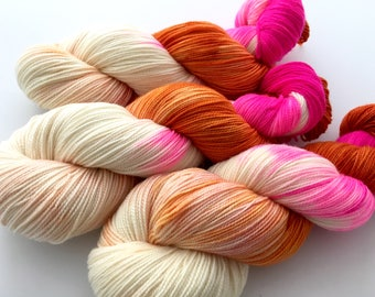 Hand Dyed/Hand Painted Yarn--First Bloom on Superwash 80 Merino/20 Nylon 2-Ply Twist Sock