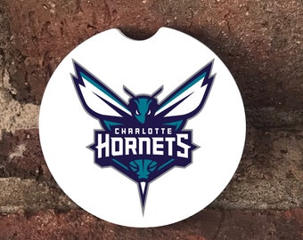 Custom Charlotte Hornets Sandstone Auto Car Cup Coasters (set of 2), Absorbent Sandstone Personalized Car Coasters (set of 2) Gift Ideas