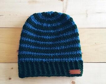 Teal and Green Crochet Beanie