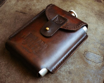 Moonshiner's Flask Leather flask, personalized leather flask, leather hip flask, leather anniversary gift for men, groomsmen gift