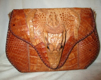 Vintage full body alligator bag