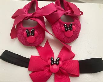 Hot pink baby lace shoes and matching headband, cute logo button hot pink shoes, Minnie Mouse  hot pink shoes.