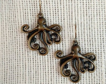 Bronze Octopus Charm Earrings *** Free US Shipping ***
