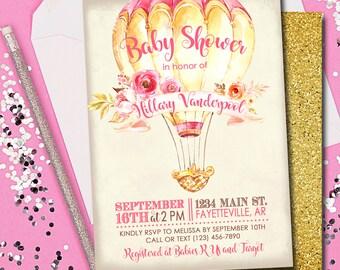 BABY SHOWER INVITATION, Hot Air Balloon Invitation, Hot Air Balloon, Baby Shower, Pink and Gold, Baby Shower Invitation, Printable 5x7