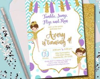Gymnastics Birthday Invitation, Gymnastics, Pink and Gold, Birthday Invitation, Invitation, Birthday, Purple and Gold, Gold, Printable 5x7
