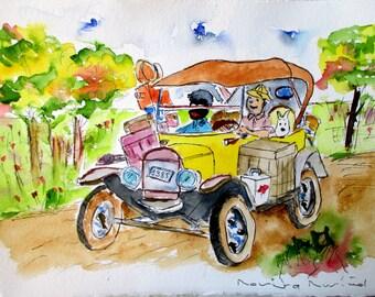 Tin-Tin Safari / watercolor original / by Rovira Rusiñol /