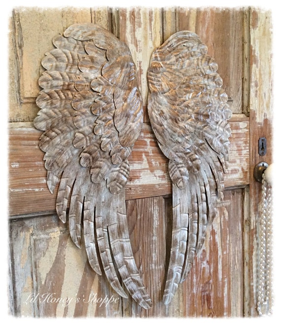 Large Distressed Wall Decor : Large metal angel wings wall decor distressed gold ivory