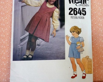 Vintage Vogue Sewing Pattern #2645, Girls Jumper, Romper and Blouse, Size 4, UNCUT