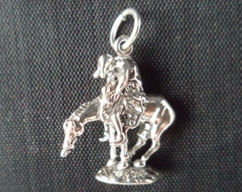 STERLING SILVER 3D End of the Trail Charm for Charm Bracelet