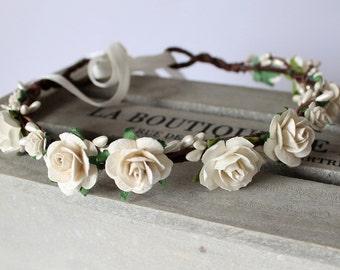 Ivory Flower Crown, Ivory Rose Pip Berry Floral Crown, Wedding Crown, Bridal Headband, Floral headpiece, Flower Girl Garland