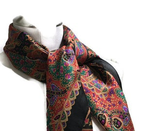 Silk Paisley Square Scarf - Vibrant Colorful Vintage Scarf