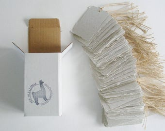 100 Llama Poo Tags - Recycled Paper Tags - Handmade Tags - Eco Friendly Tags - Gift Tags - Swing Tags - Hang Tags - Eco Friendly Gifts