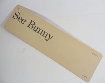 Retro See Bunny Flash Cards - Vintage Vocabulary Word Flash Card