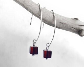 Dark Cherry Amber Earrings, Sterling Silver Dangle Hook Modern Earrings, Cube Amber Silver Jewelry, Fashion Accessories