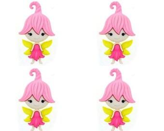 Fairy Buttons Jesse James Buttons Fairies Welcome Dress It Up Buttons Set of 4 Shank Back - 92
