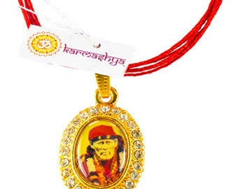 Shirdi Sai Baba Sai Ram Rhinestone Bling Pendant Mala Necklace Chain Om  PN0087