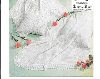 2 Pretty Baby Shawls knitting pattern in 2 or 3 ply wool PDF