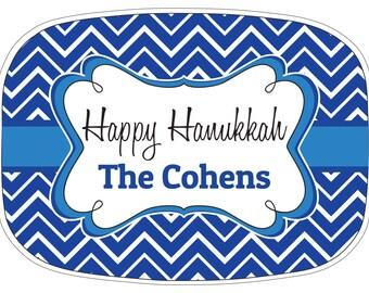Happy Hanukkah Melamine Platter, Personalized Chanukkah Serving Plate, Latkes Serving Platter, Hostess Gift, Chanukah Custom Platter