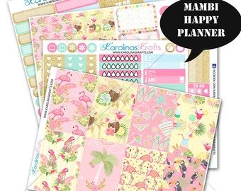 Summer Flamingo Stickers Planner Kit 200+ Happy Planner Sticker, Mambi Planner Sticker kit, Summer Weekly Planner Kit #SQ00663-MHP