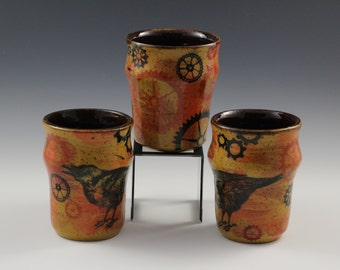 SteamPunk Raven Tumblers/Tea Cups - Orange