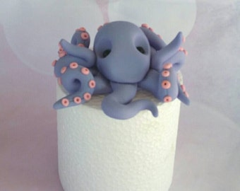 Fondant Purple Octopus cake Topper