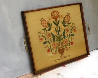 Vintage Drinks Tray Tea Tray Embroidered Tray Glass Tray Oak Framed 1950's Large Tray