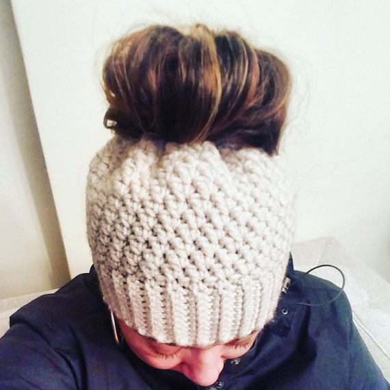 Crochet Bun Hat : crochet messy bun hat, ponytail hat, crochet hat, messy bun hat