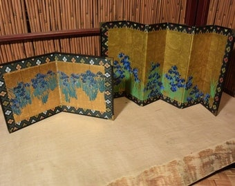 Vintage Japanese Mini 2 and 6  Panels Screen Set of 2  for Doll House Irises